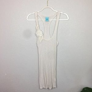 H.I.P. Cream Racerback Tank with Flower Size L